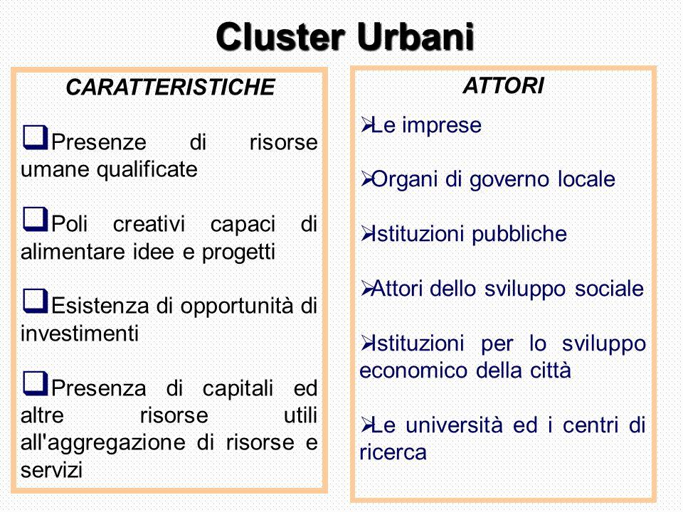 Cluster Urbani CARATTERISTICHE. Presenze di risorse umane qualificate. Poli creativi capaci di alimentare idee e progetti.