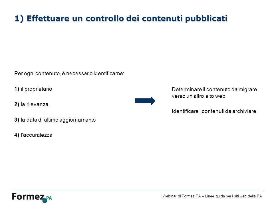 1) Effettuare un controllo dei contenuti pubblicati