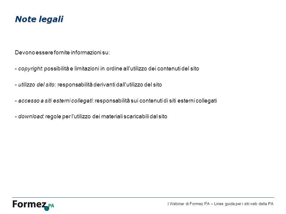 Note legali Devono essere fornite informazioni su: