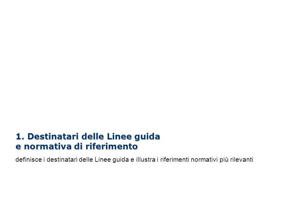 1. Destinatari delle Linee guida e normativa di riferimento