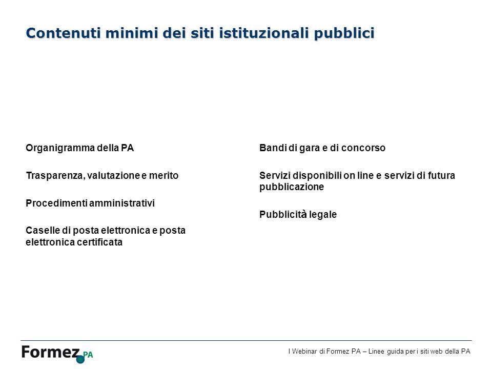 Contenuti minimi dei siti istituzionali pubblici