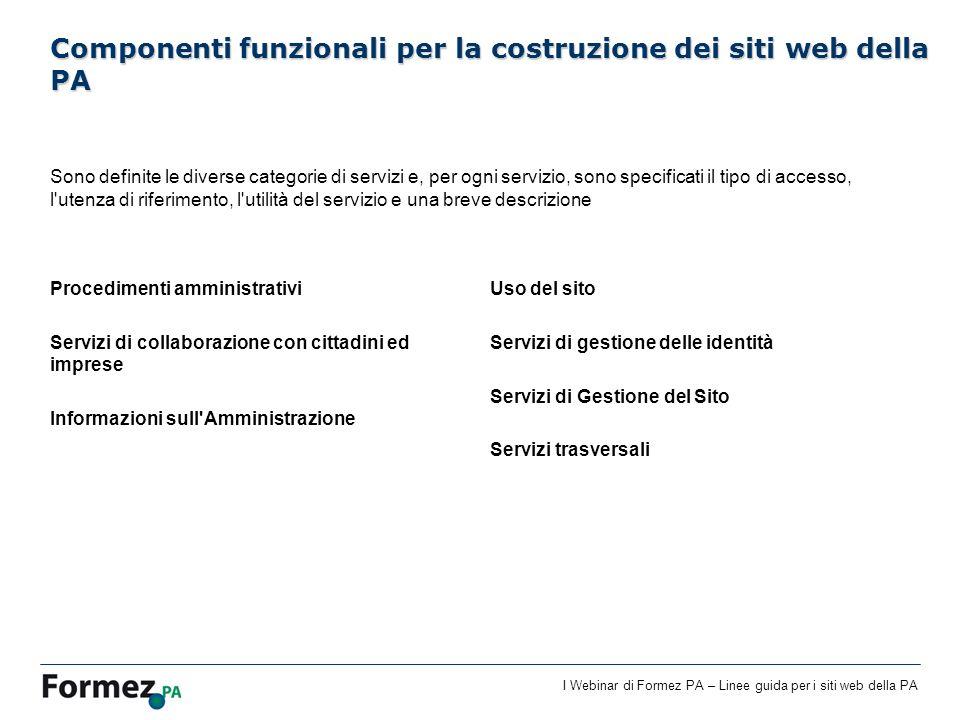 Componenti funzionali per la costruzione dei siti web della PA