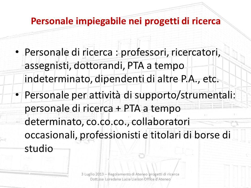 Personale impiegabile nei progetti di ricerca