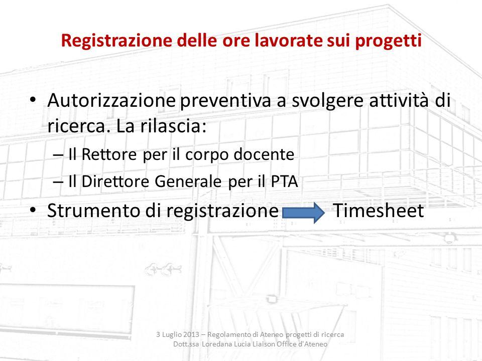 Registrazione delle ore lavorate sui progetti
