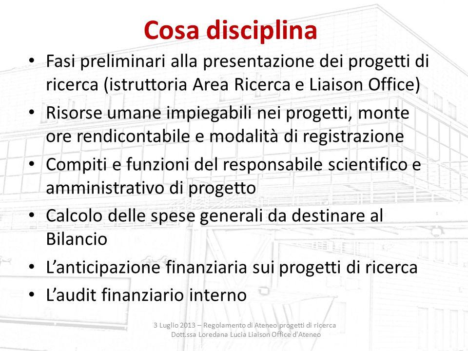 Cosa disciplina Fasi preliminari alla presentazione dei progetti di ricerca (istruttoria Area Ricerca e Liaison Office)