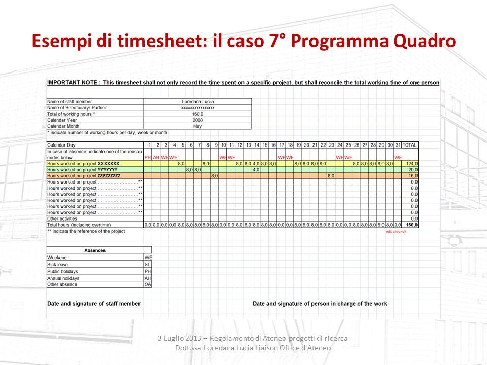 Esempi di timesheet: il caso 7° Programma Quadro