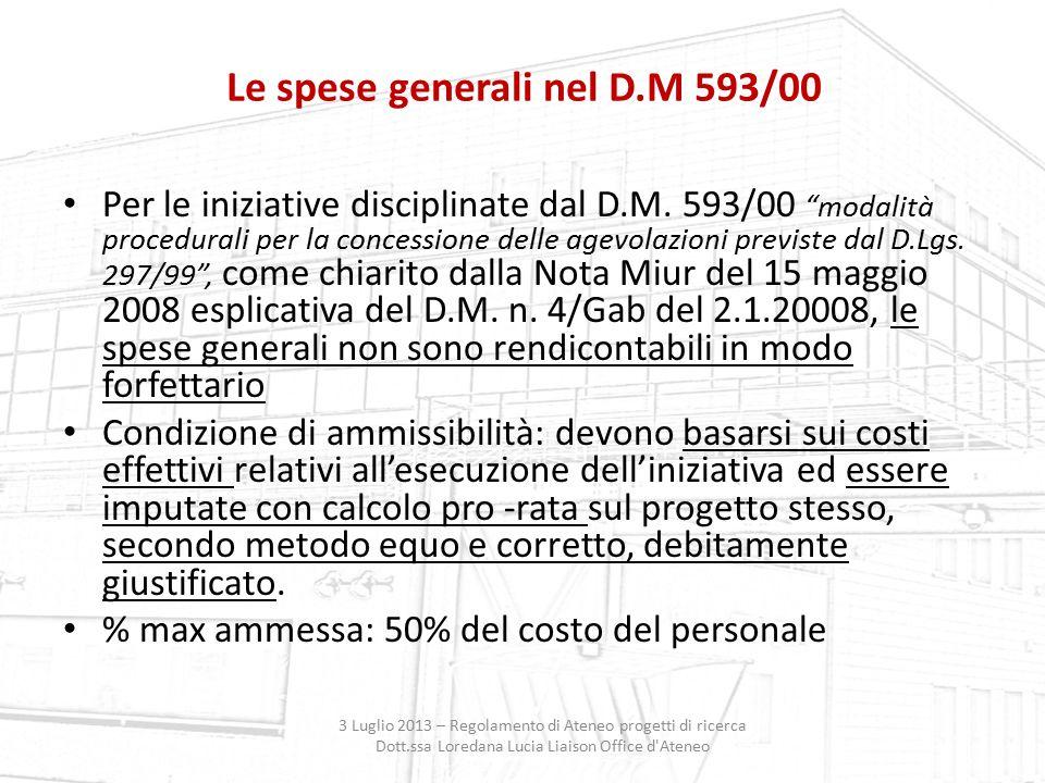 Le spese generali nel D.M 593/00
