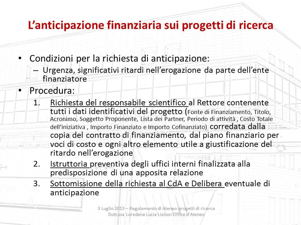 L'anticipazione finanziaria sui progetti di ricerca