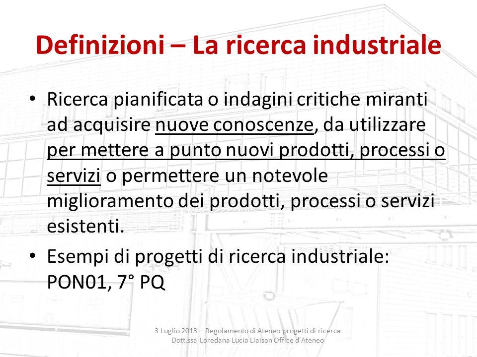 Definizioni – La ricerca industriale