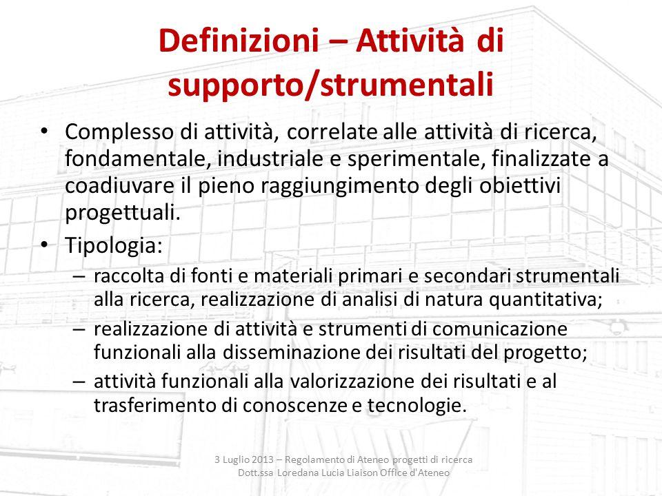 Definizioni – Attività di supporto/strumentali