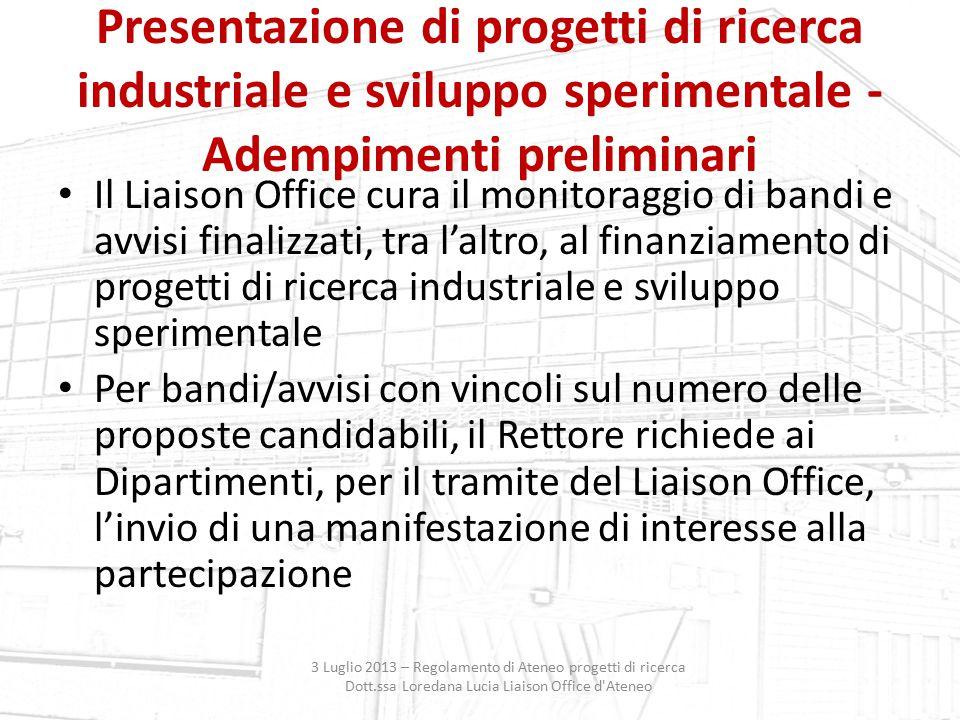 Presentazione di progetti di ricerca industriale e sviluppo sperimentale - Adempimenti preliminari
