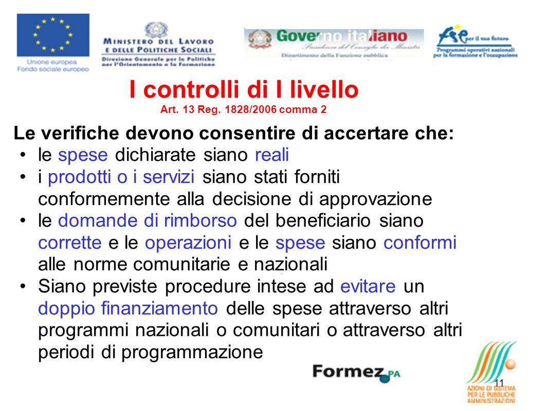 I controlli di I livello Art. 13 Reg. 1828/2006 comma 2