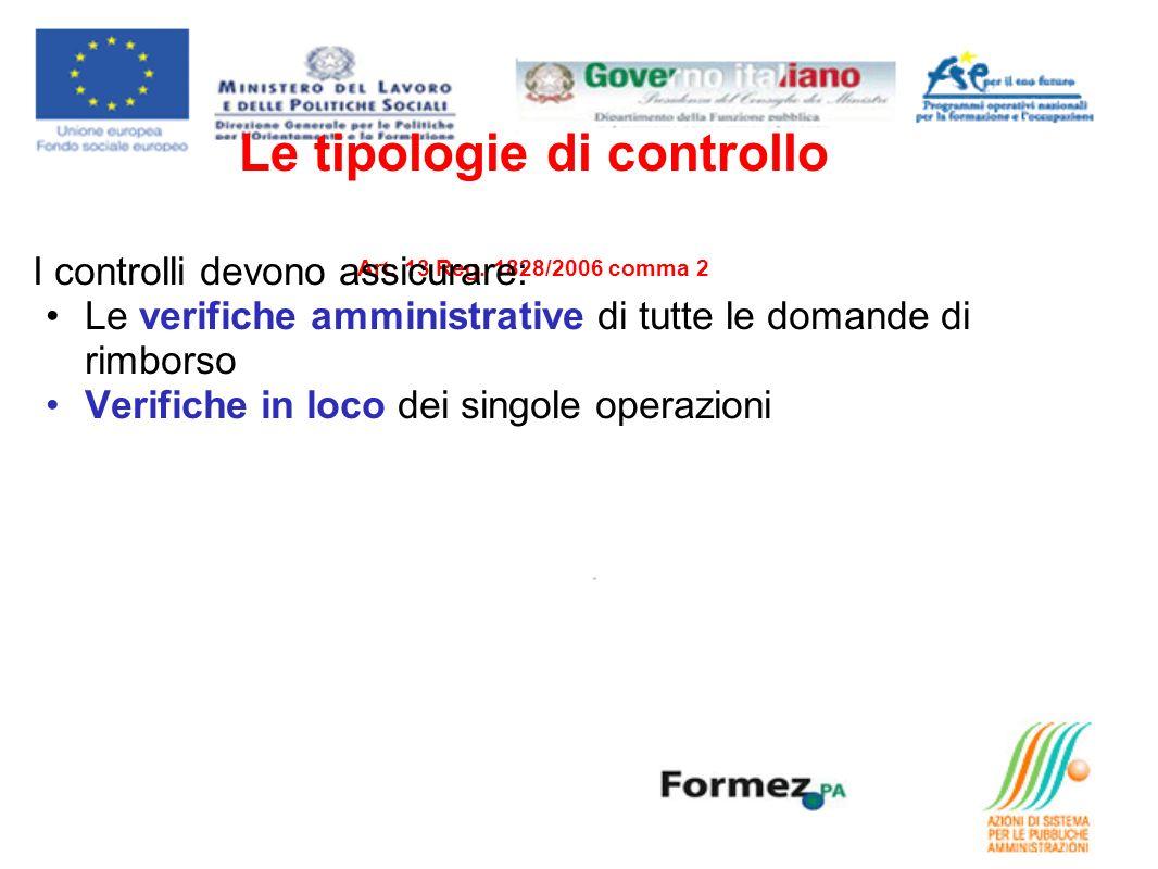 Le tipologie di controllo Art. 13 Reg. 1828/2006 comma 2