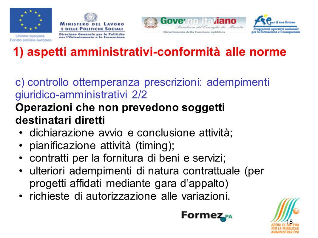 1) aspetti amministrativi-conformità alle norme