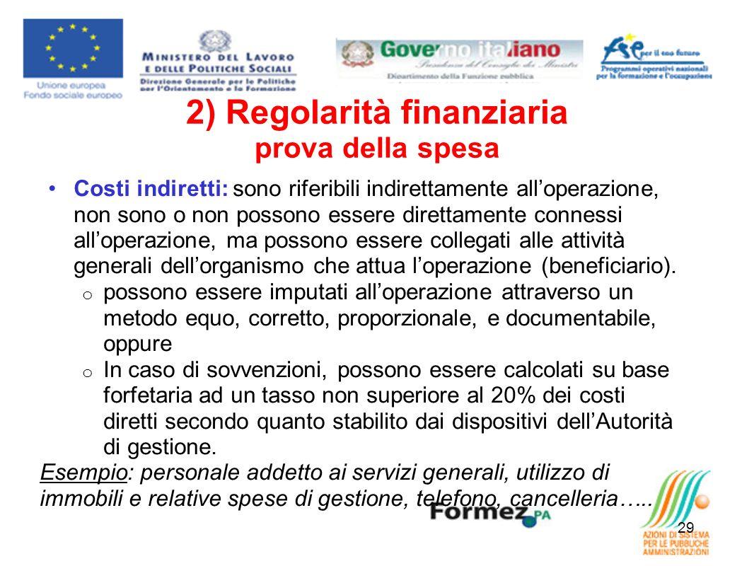 2) Regolarità finanziaria prova della spesa