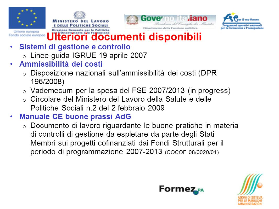 Ulteriori documenti disponibili
