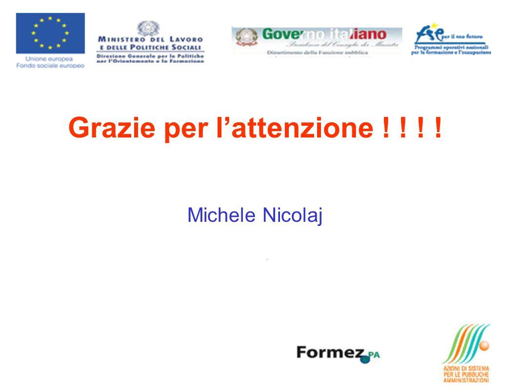 Grazie per l'attenzione ! ! ! ! Michele Nicolaj