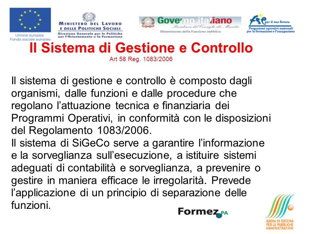 Il Sistema di Gestione e Controllo Art 58 Reg. 1083/2006