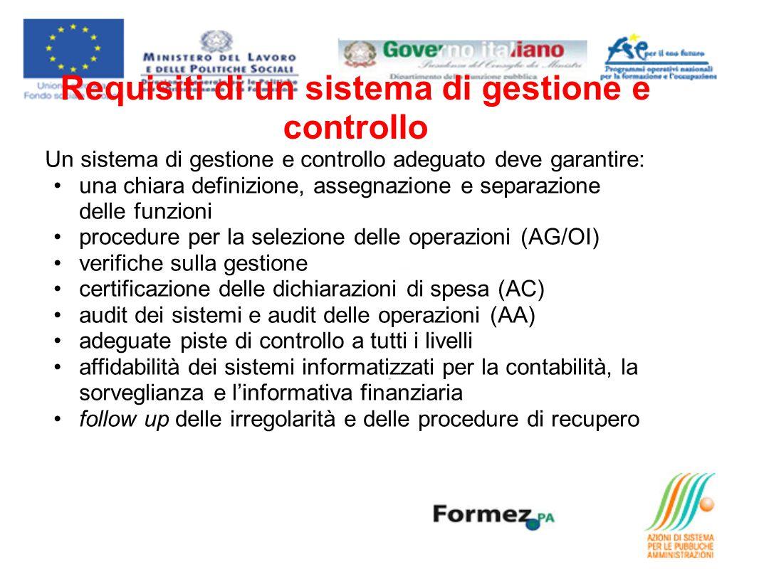 Requisiti di un sistema di gestione e controllo