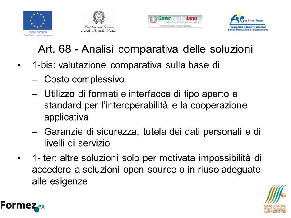Art. 68 - Analisi comparativa delle soluzioni