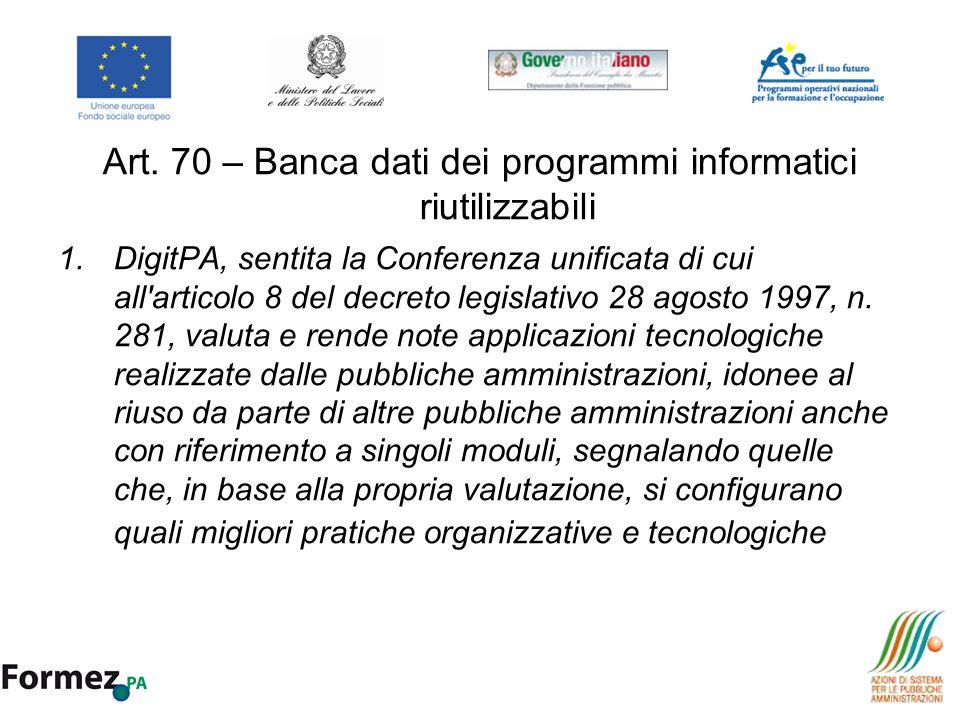 Art. 70 – Banca dati dei programmi informatici riutilizzabili
