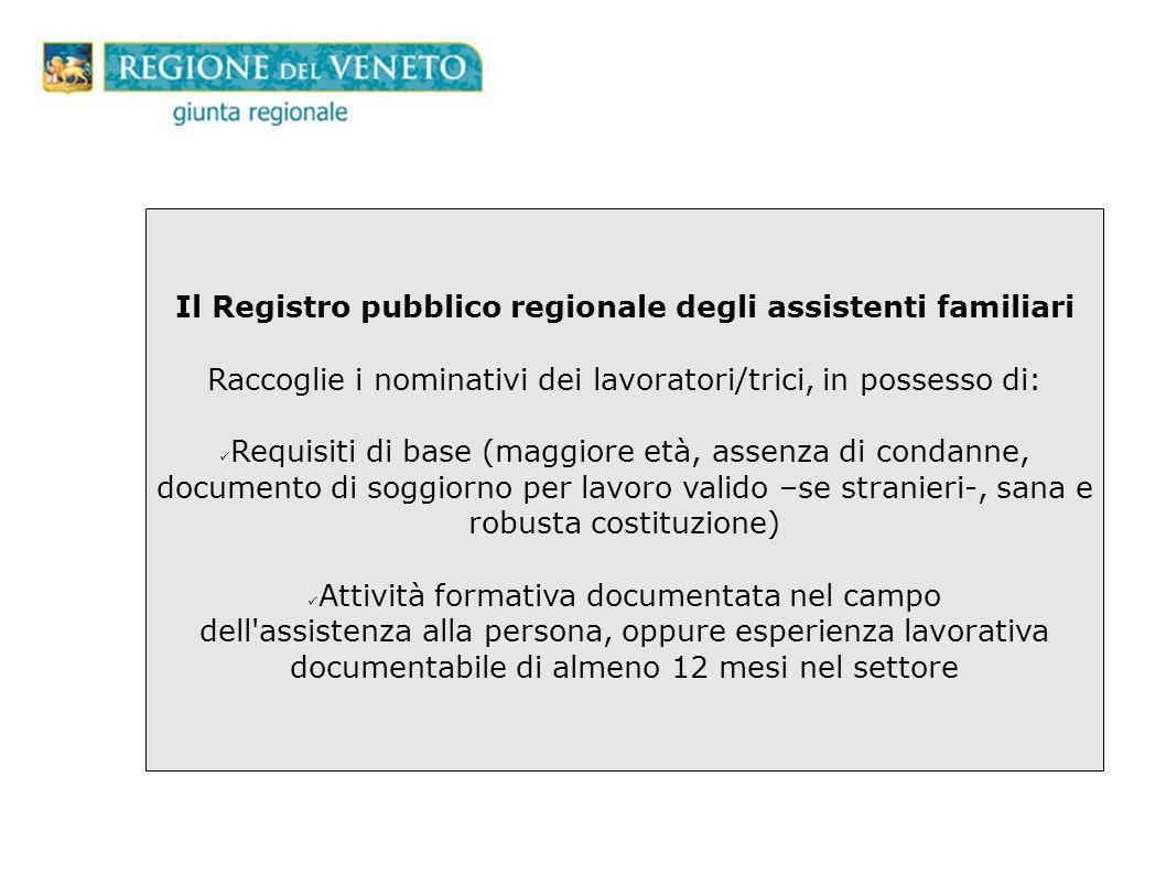 Il Registro pubblico regionale degli assistenti familiari