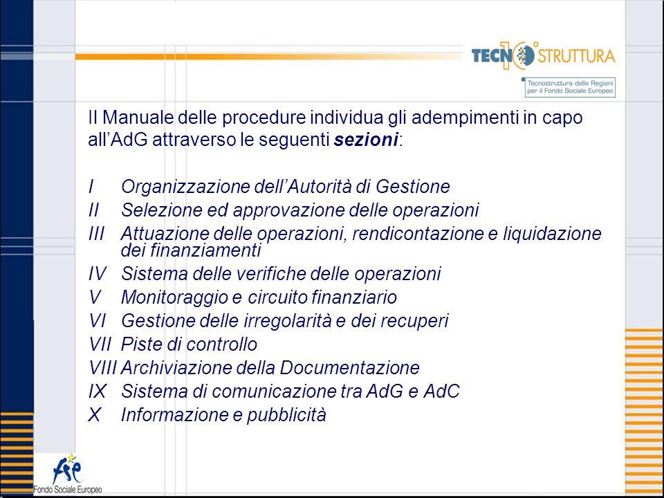 Il Manuale delle procedure individua gli adempimenti in capo all'AdG attraverso le seguenti sezioni: