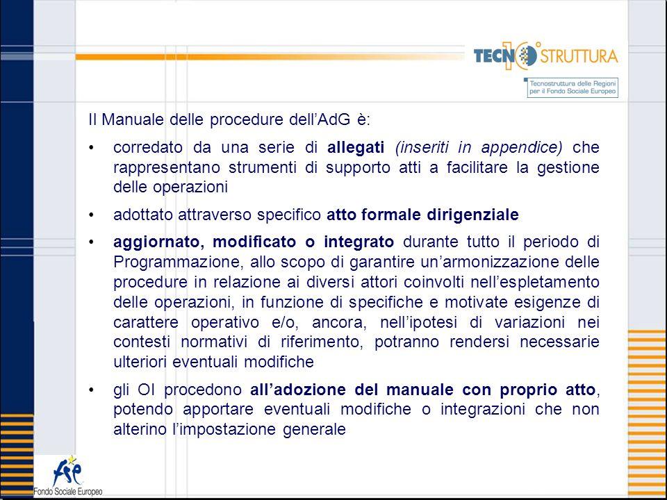 Il Manuale delle procedure dell'AdG è: