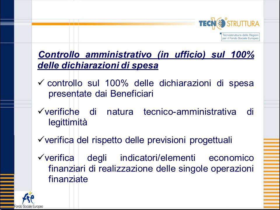 Controllo amministrativo (in ufficio) sul 100% delle dichiarazioni di spesa