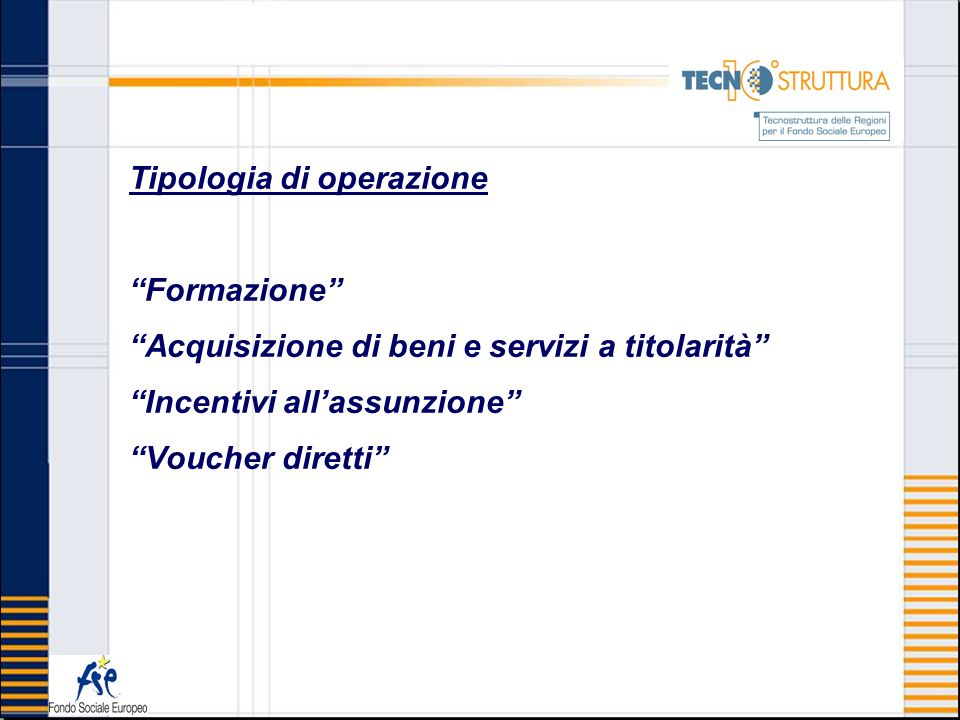 Tipologia di operazione