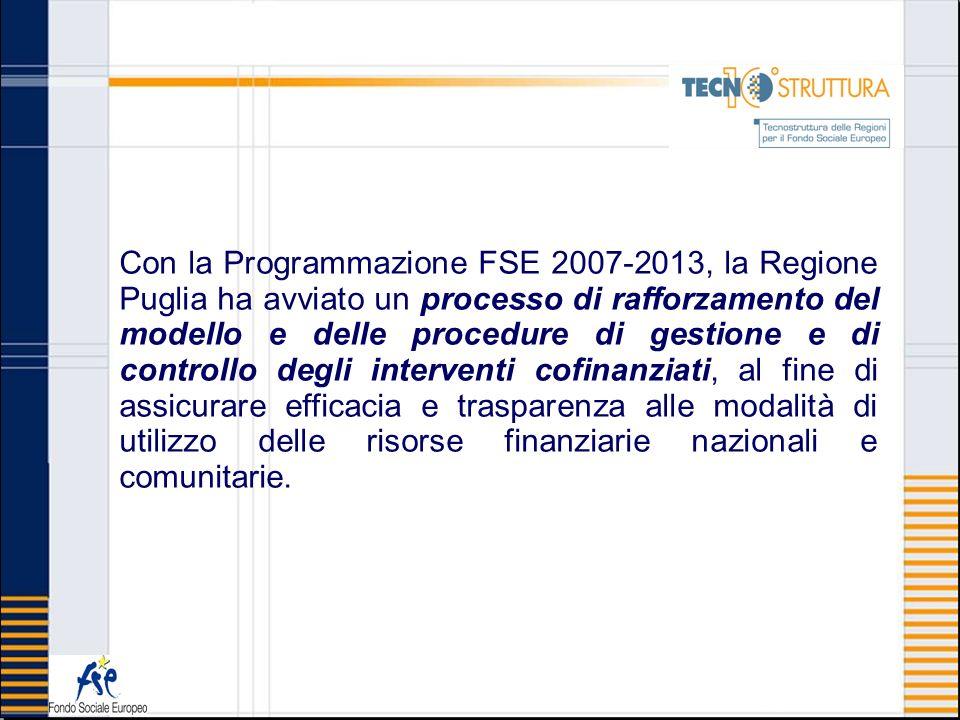 Con la Programmazione FSE 2007-2013, la Regione Puglia ha avviato un processo di rafforzamento del modello e delle procedure di gestione e di controllo degli interventi cofinanziati, al fine di assicurare efficacia e trasparenza alle modalità di utilizzo delle risorse finanziarie nazionali e comunitarie.