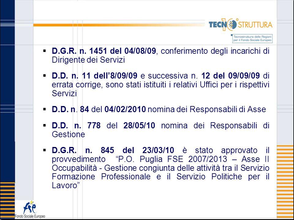 D.G.R. n. 1451 del 04/08/09, conferimento degli incarichi di Dirigente dei Servizi