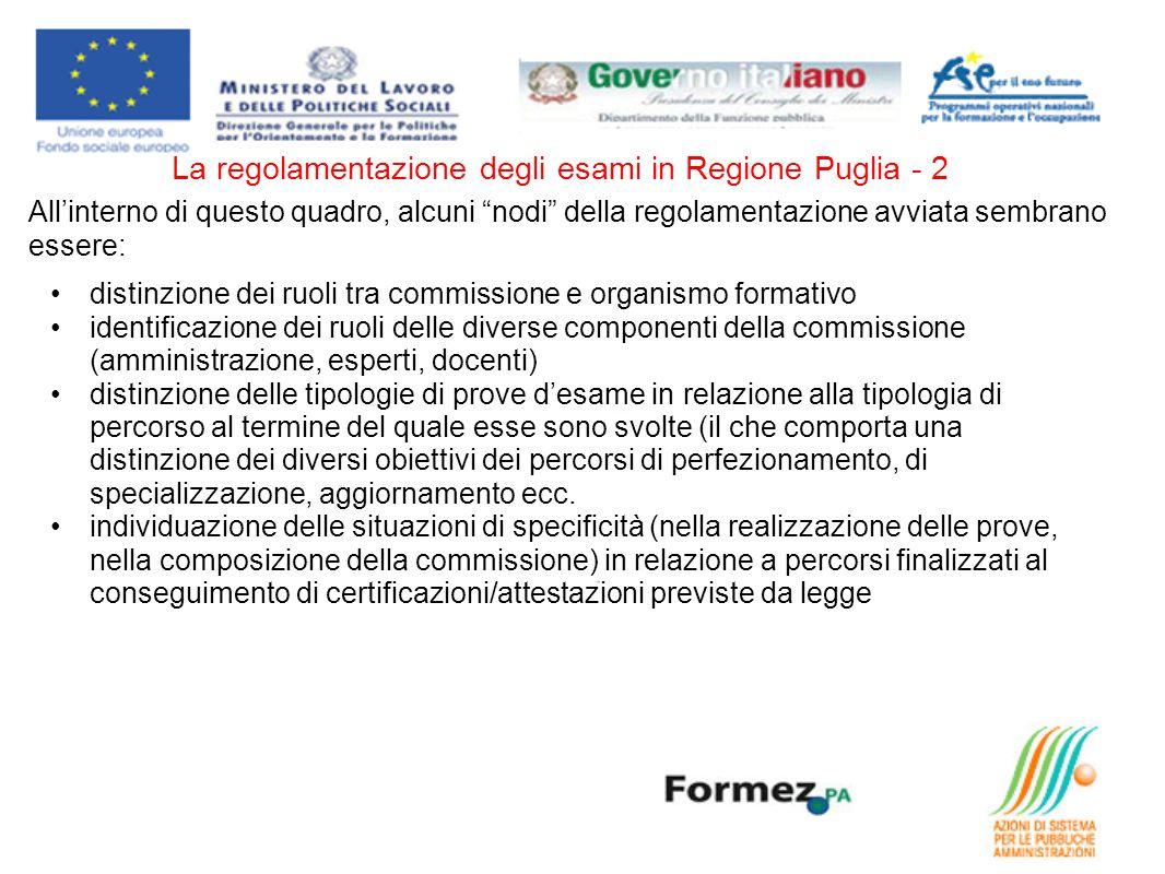 La regolamentazione degli esami in Regione Puglia - 2