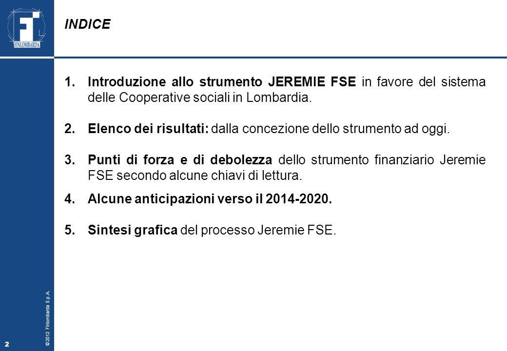 INDICE Introduzione allo strumento JEREMIE FSE in favore del sistema delle Cooperative sociali in Lombardia.