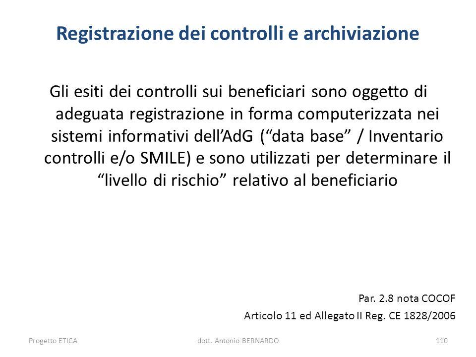 Registrazione dei controlli e archiviazione