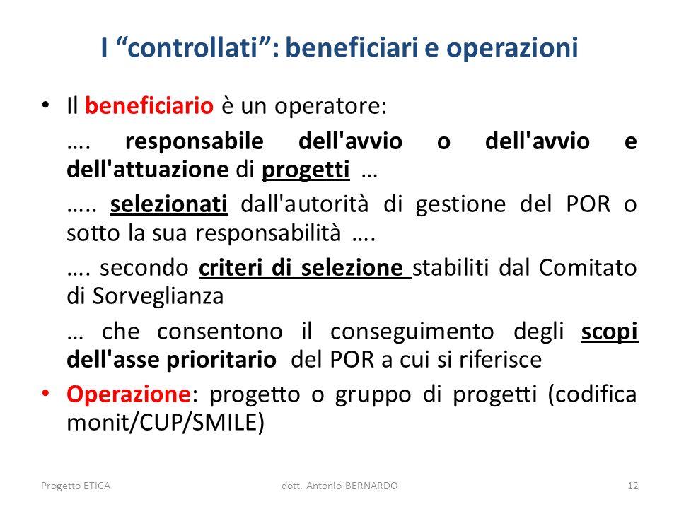I controllati : beneficiari e operazioni