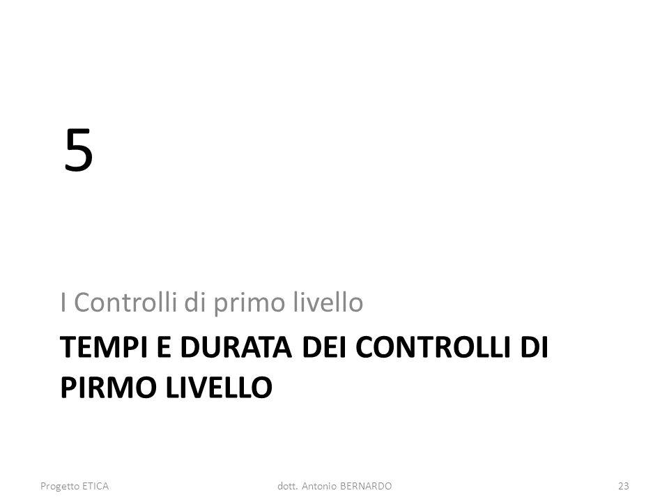 TEMPI E DURATA DEI CONTROLLI DI PIRMO LIVELLO