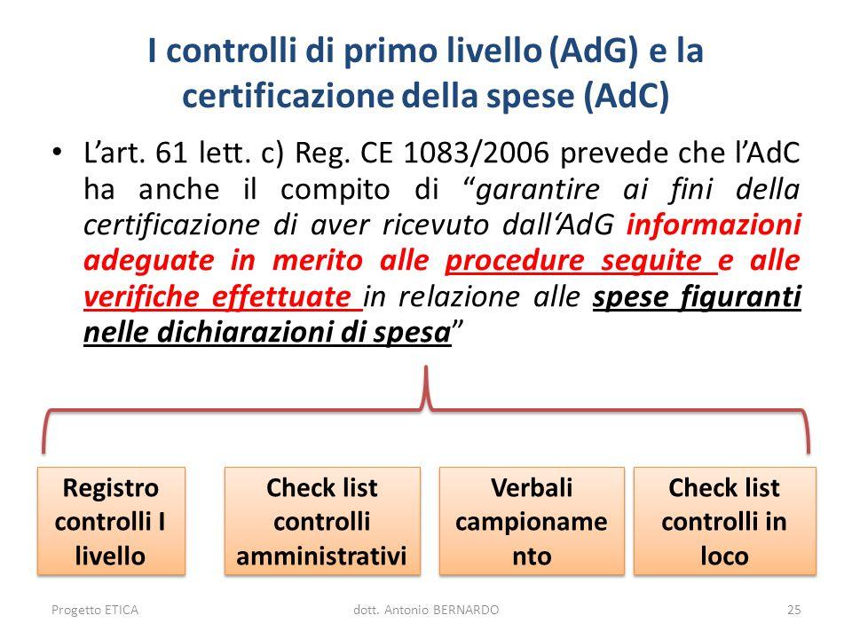 I controlli di primo livello (AdG) e la certificazione della spese (AdC)