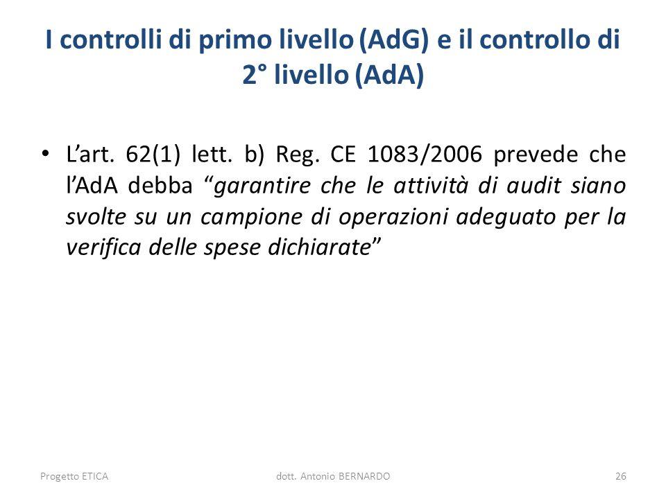 I controlli di primo livello (AdG) e il controllo di 2° livello (AdA)