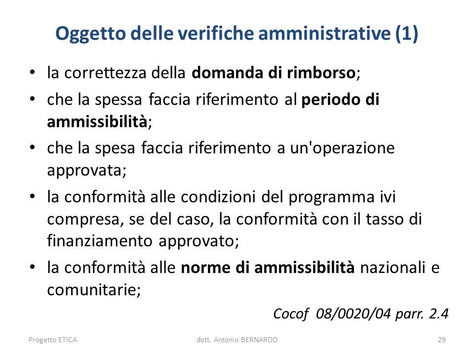 Oggetto delle verifiche amministrative (1)