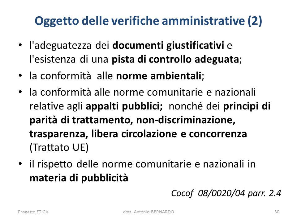 Oggetto delle verifiche amministrative (2)