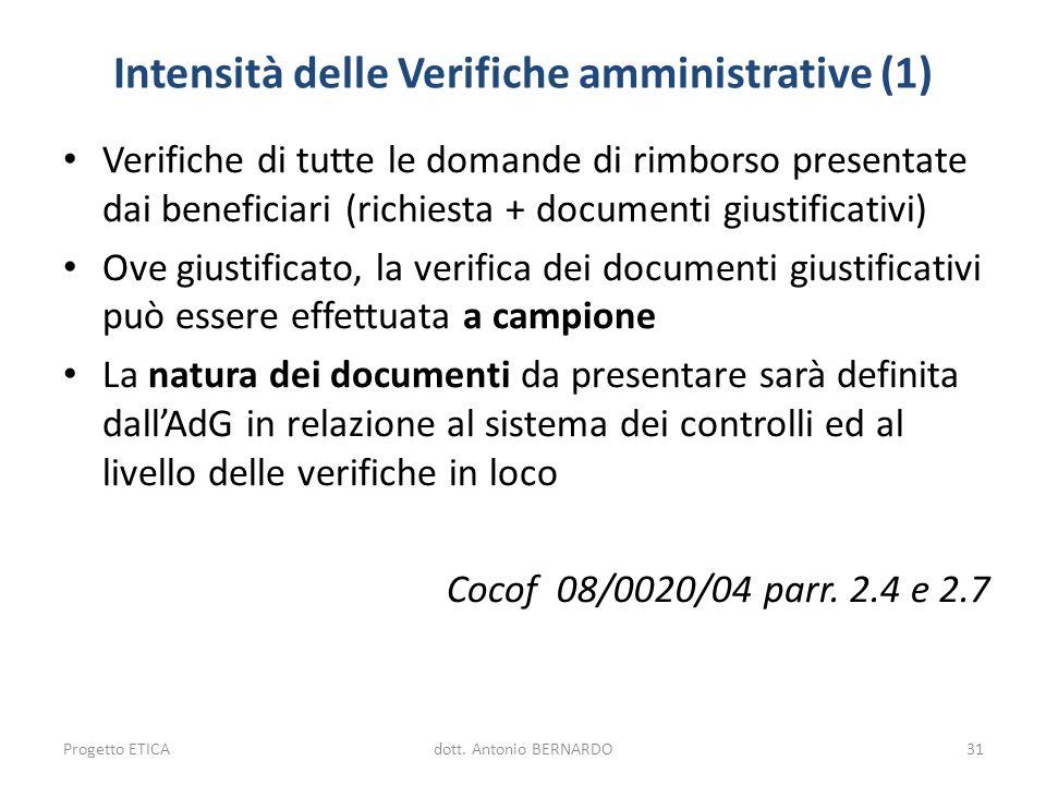 Intensità delle Verifiche amministrative (1)