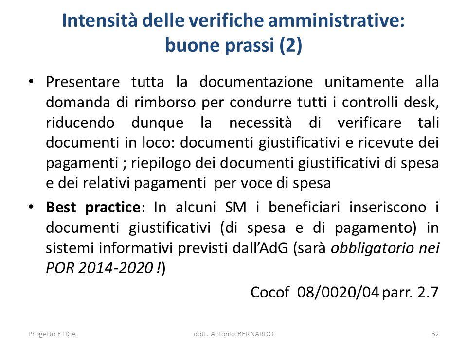 Intensità delle verifiche amministrative: buone prassi (2)