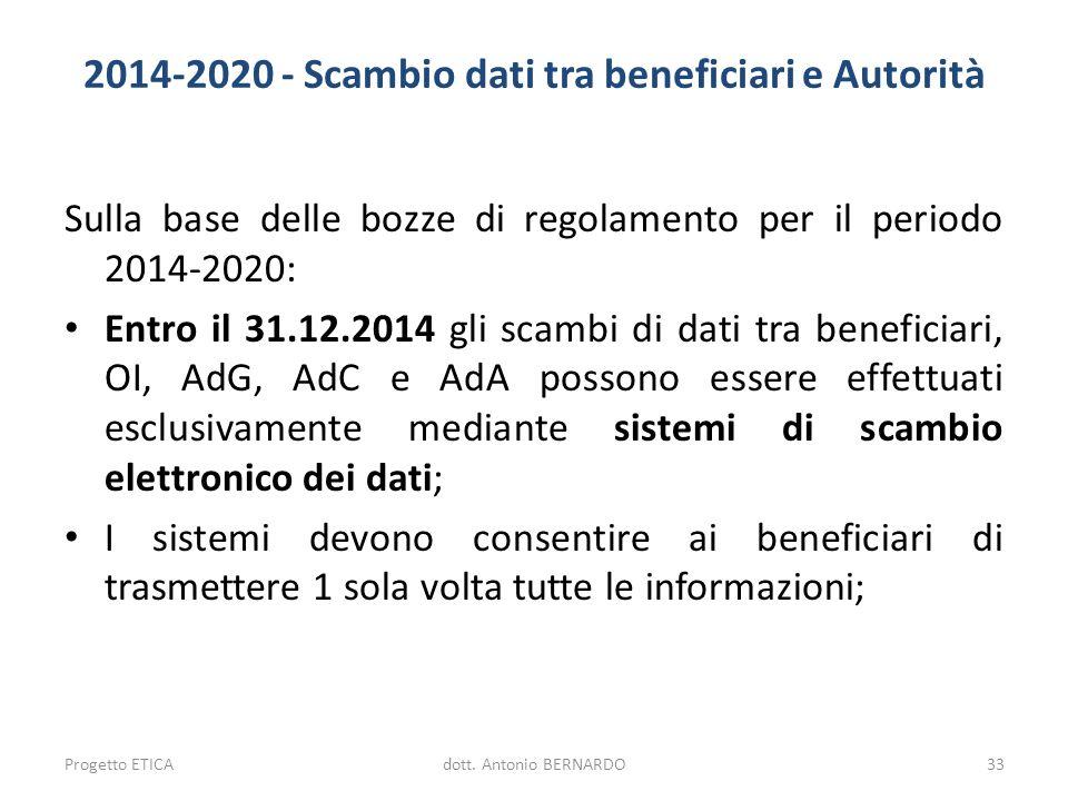 2014-2020 - Scambio dati tra beneficiari e Autorità