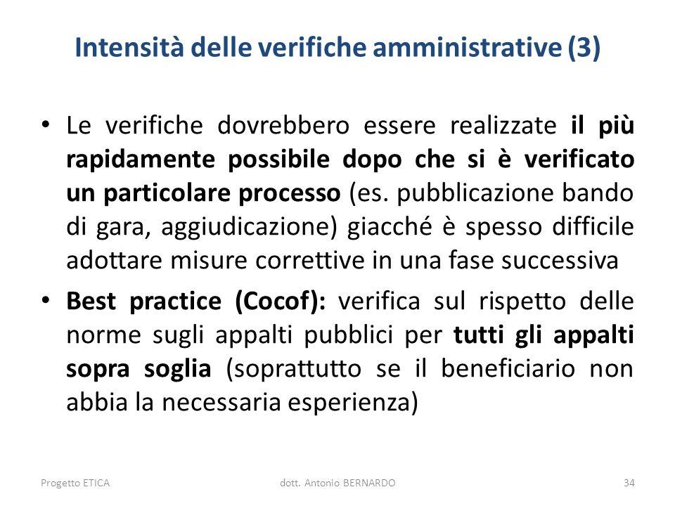 Intensità delle verifiche amministrative (3)