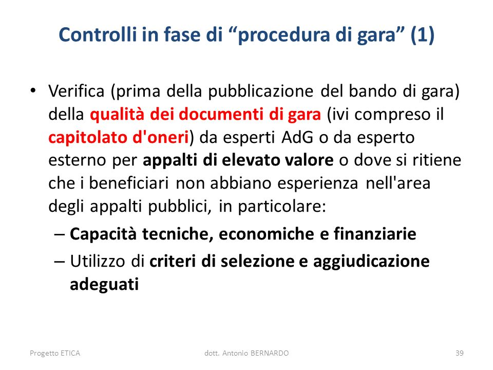 Controlli in fase di procedura di gara (1)