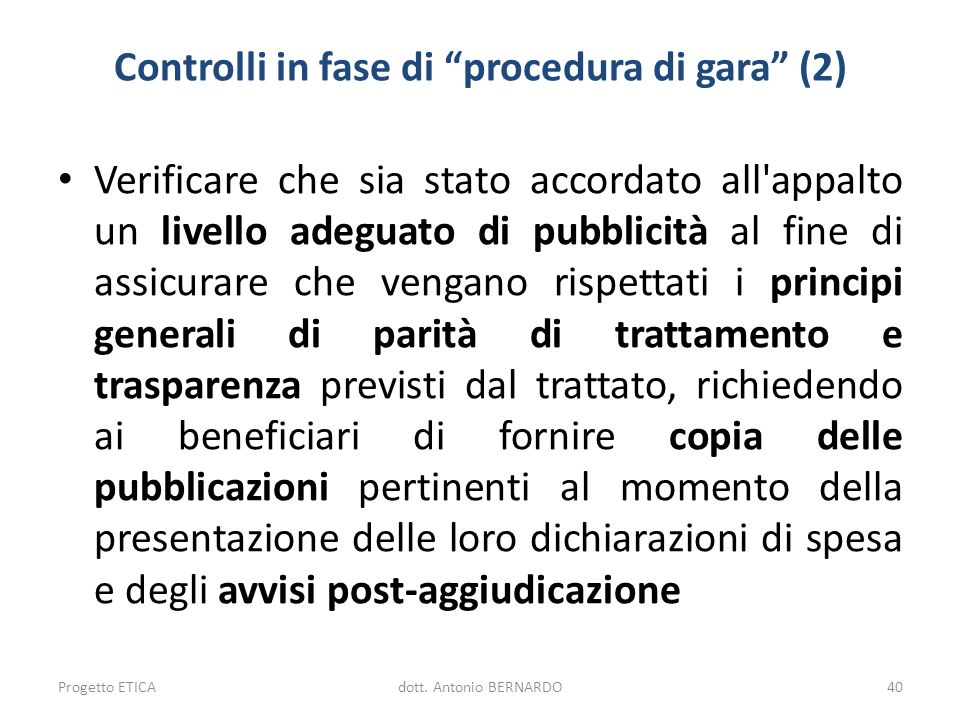 Controlli in fase di procedura di gara (2)