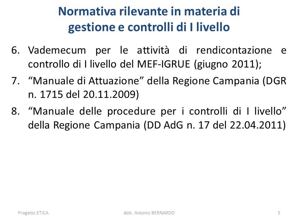 Normativa rilevante in materia di gestione e controlli di I livello