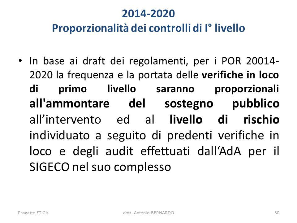 2014-2020 Proporzionalità dei controlli di I° livello