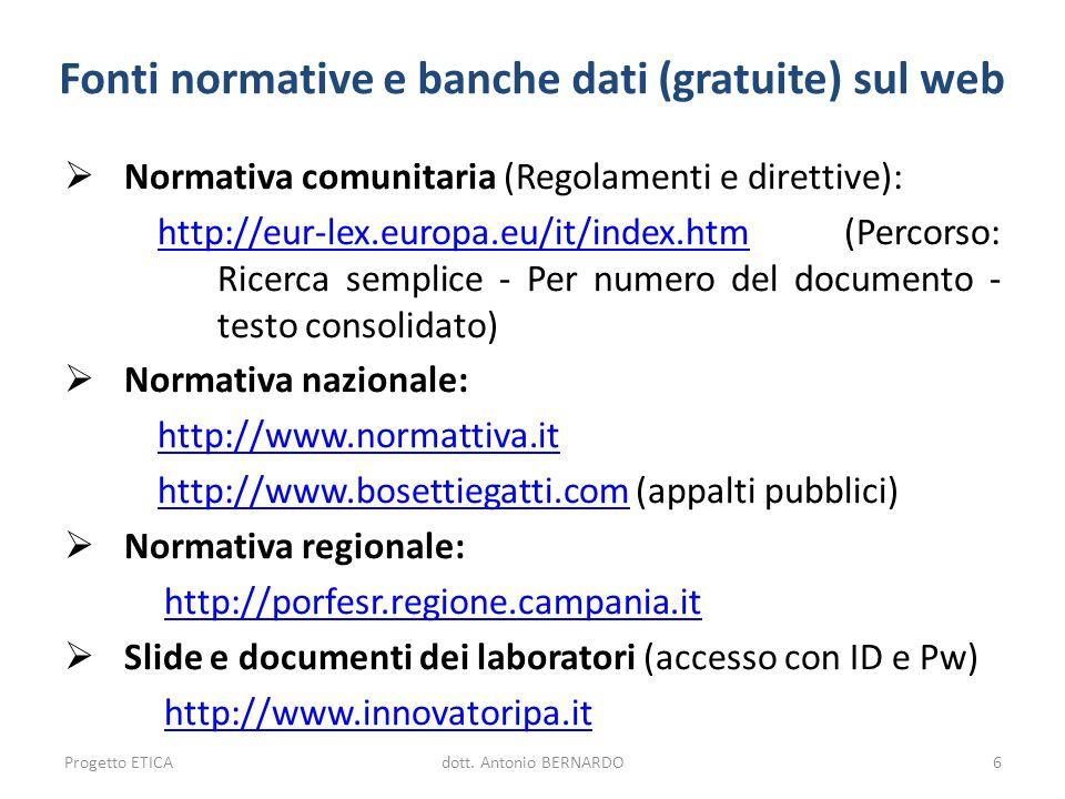 Fonti normative e banche dati (gratuite) sul web